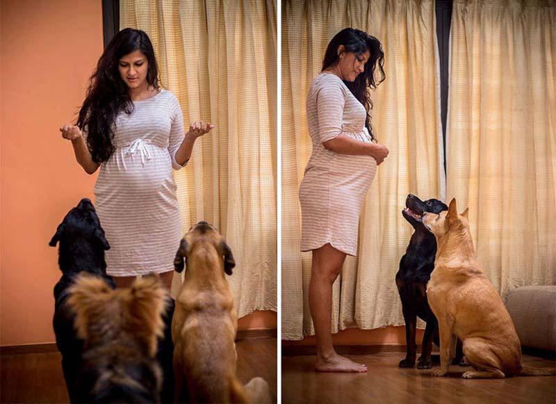 Саньяна Мадаппа и Адитья Рахейя и их собаки
