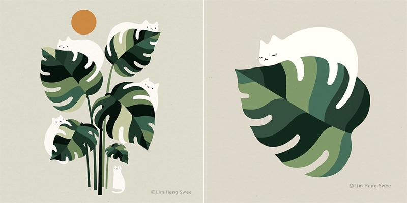 Фантазии на тему кошек и монстеры от художника  Лим Хен Су