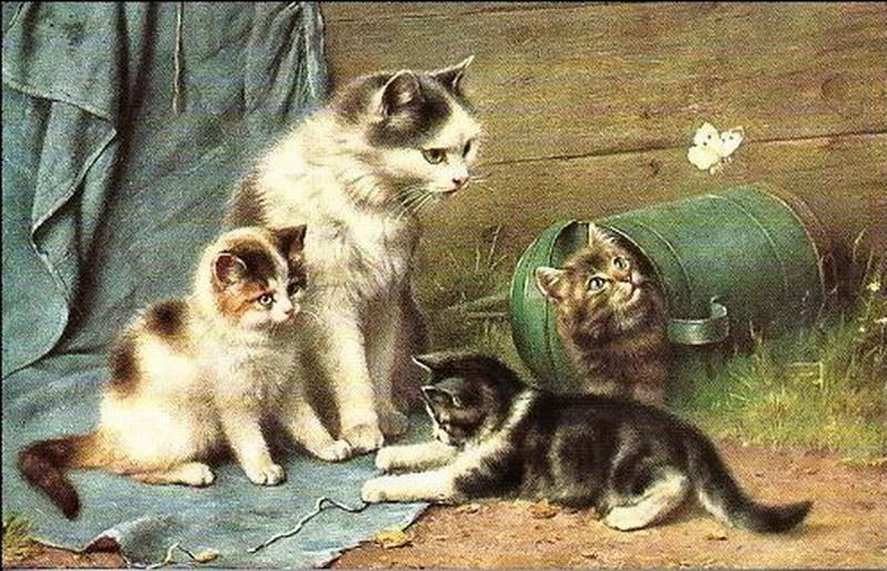 Старинные открытки с кошками