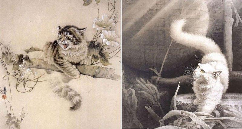Рисунки кошек в стиле гохуа
