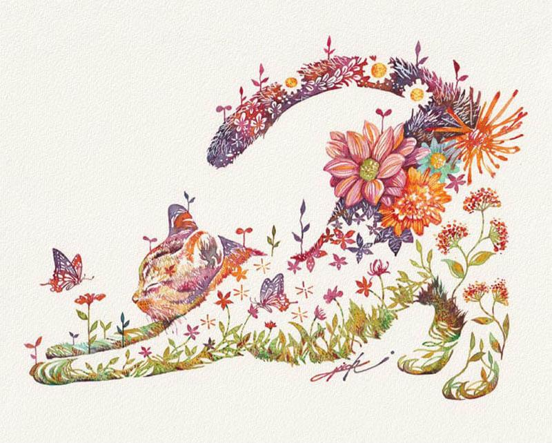 Флористические животные японского художника Хироки Такеда