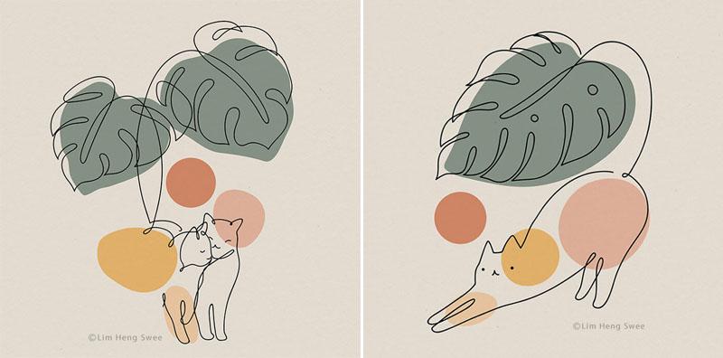 Кошки и растения художника-иллюстратора Лим Хен Су